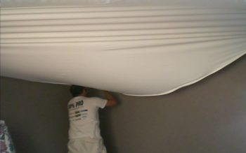 Clear membrane ceiling renovation Jacksonville suspended fabric vinyl glossy stretch ceiling Batica-Renov USA