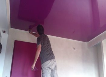 Do it Yourself ceiling renovation Jacksonville suspended fabric vinyl glossy stretch ceiling Batica-Renov USA