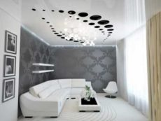 3D Stretch ceiling suspended fabric vinyl Glossy Design 5th Wall